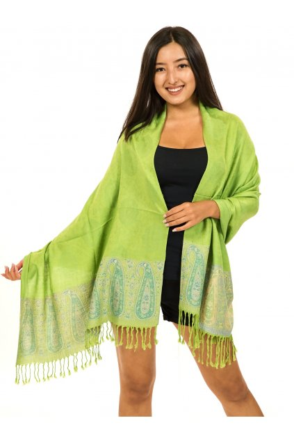 Šátek pašmína Nepal - limetková