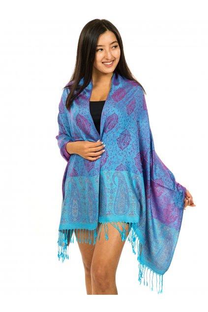 Šátek pašmína Nepal - tyrkysová s růžovou