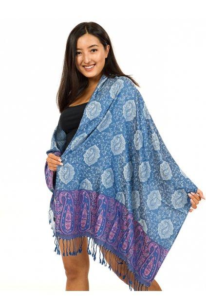 Šátek pašmína Nepal - modrá se šedou