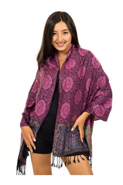 Šátek pašmína Nepal - černá s růžovou