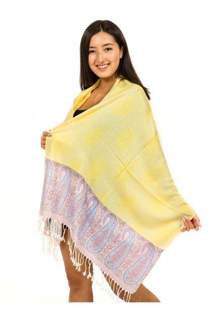 Šátek pašmína Nepal - žlutá