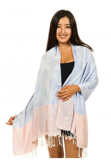 Šátek pašmína Nepal - hyacintová