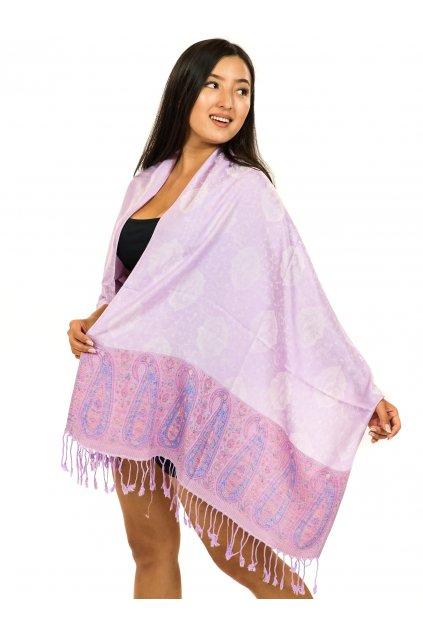 Šátek pašmína Nepal - šeříková