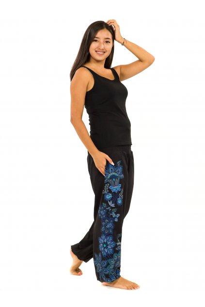 Kalhoty Tahira - černá s modrou