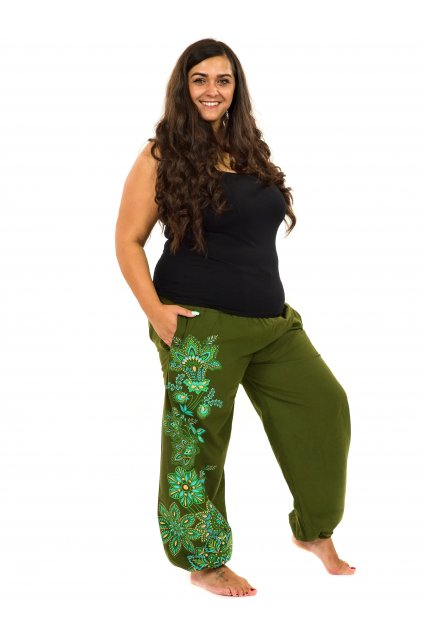 Kalhoty Tahira - khaki s limetkovou