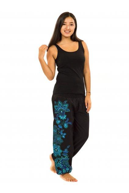 Kalhoty Tahira - černá s tyrkysovou