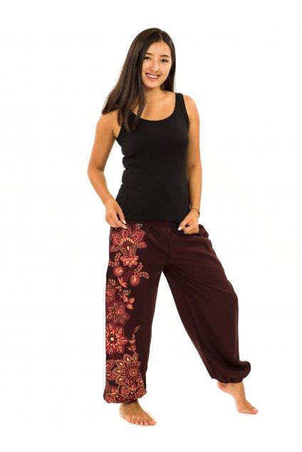 Kalhoty Tahira - hnědá s červenou