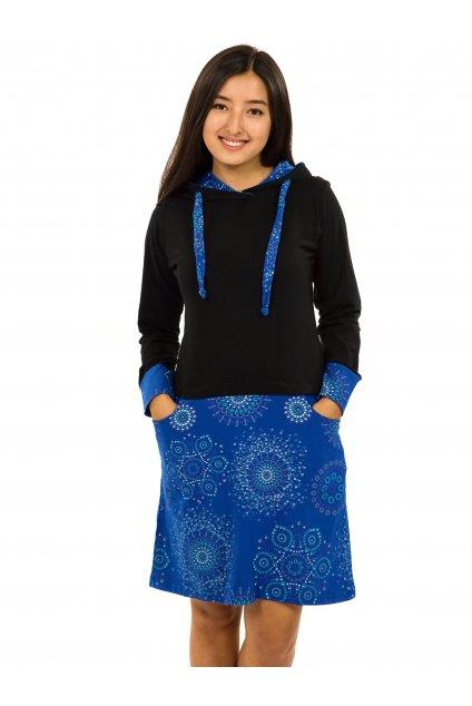 Šaty s kapucí Asma - černá s modrou