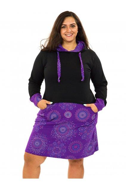 Šaty s kapucí Asma - černá s fialovou