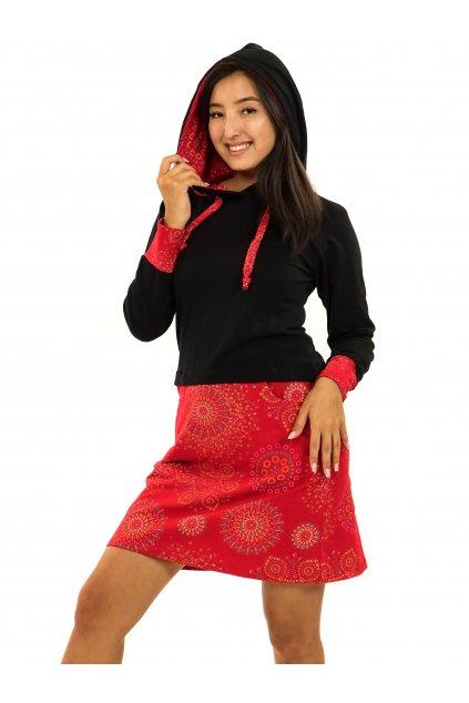Šaty s kapucí Asma - černá s červenou