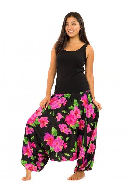 Kalhoty-šaty-top 3v1 Ibišek - černá s růžovou
