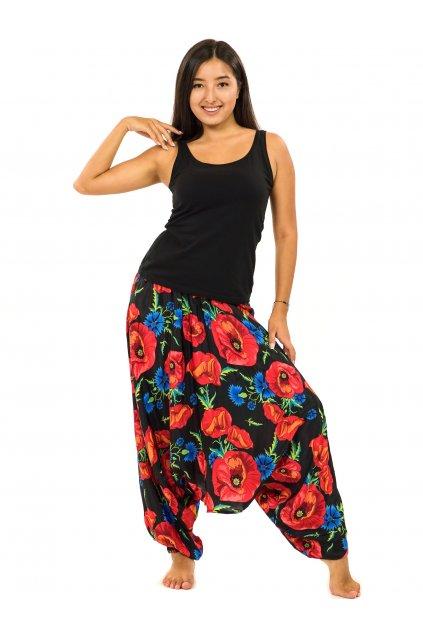 Kalhoty-šaty-top 3v1 Vlčí mák - černá s červenou
