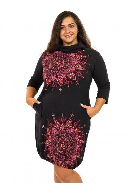 Balonové šaty s límcem Tara - černá s růžovou