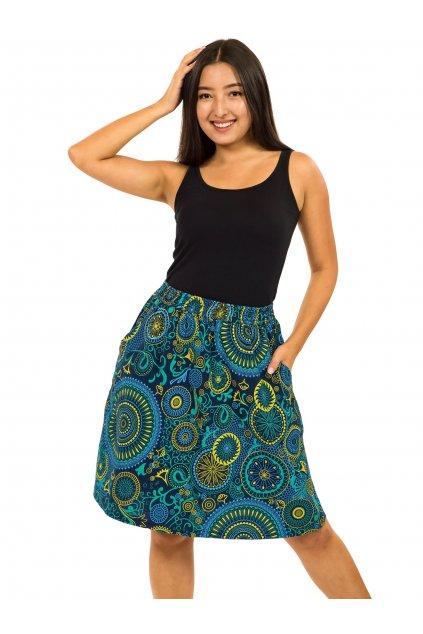 Midi sukně Haiku - petrolejová s tyrkysovou