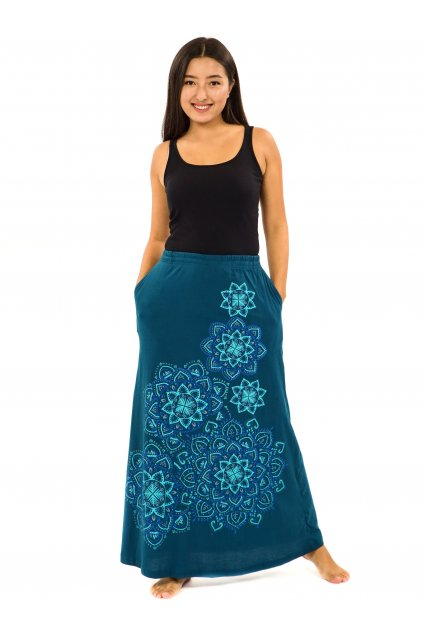 Dlouhá sukně Khana - petrolejová