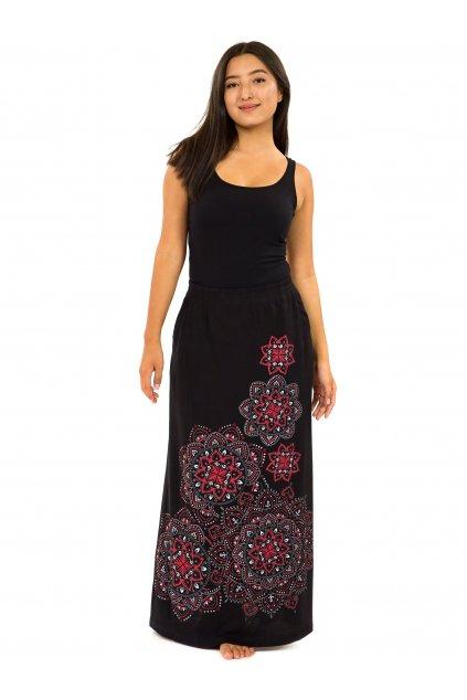 Dlouhá sukně Khana - černá s červenou