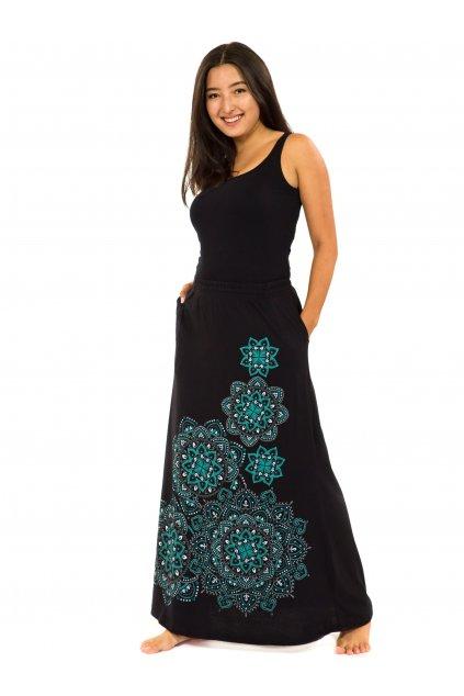 Dlouhá sukně Khana - černá s tyrkysovou