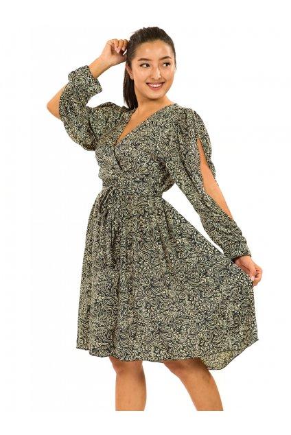 Zavinovací šaty Shanti - černá s béžovou