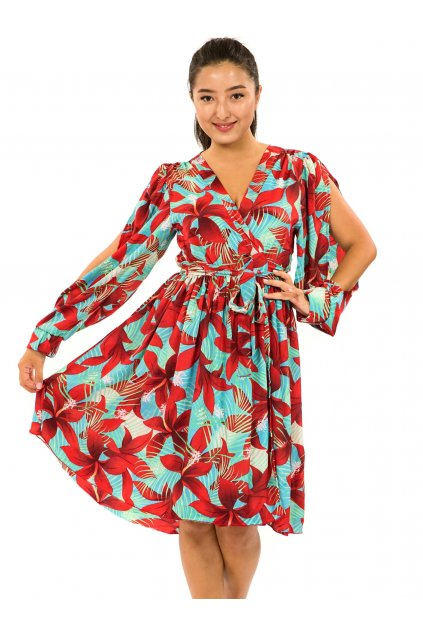Zavinovací šaty Ibišek - tyrkysová s červenou
