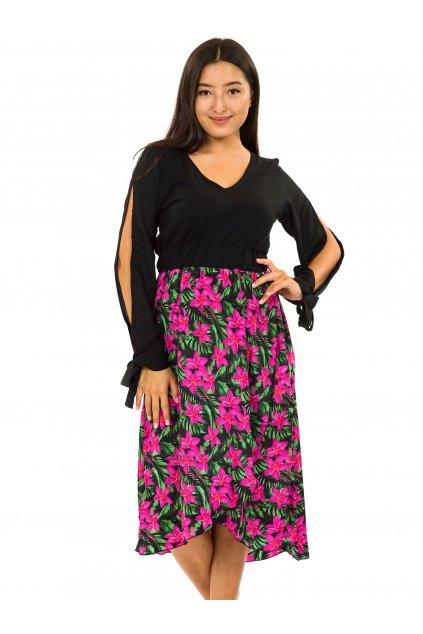 Midi šaty Plumeria - zelená s růžovou
