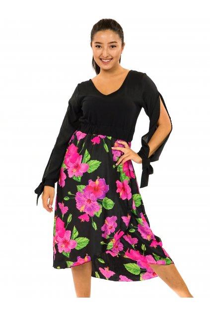 Midi šaty Ibišek - černá s růžovou