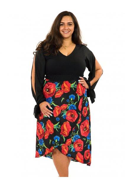 Midi šaty Vlčí mák - černá s červenou