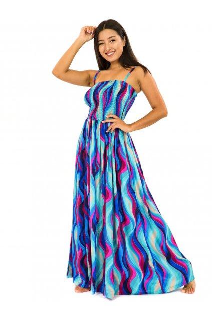 Dlouhé šaty s kapsami Vlny - tyrkysová s růžovou