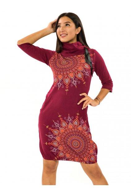 Balonové šaty s límcem Tara - vínová