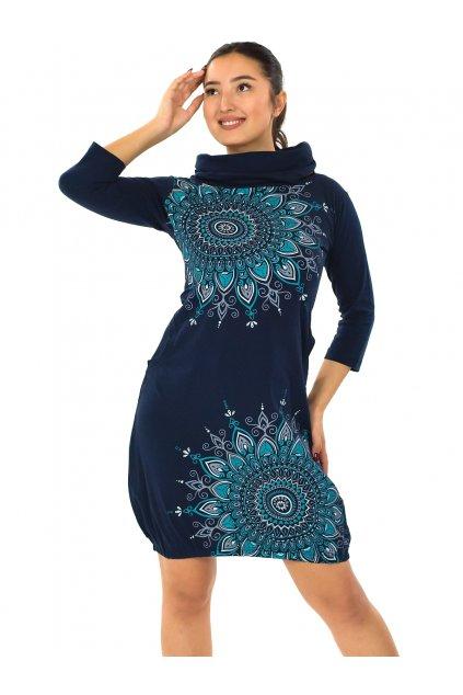 Balonové šaty s límcem Tara - královská modrá