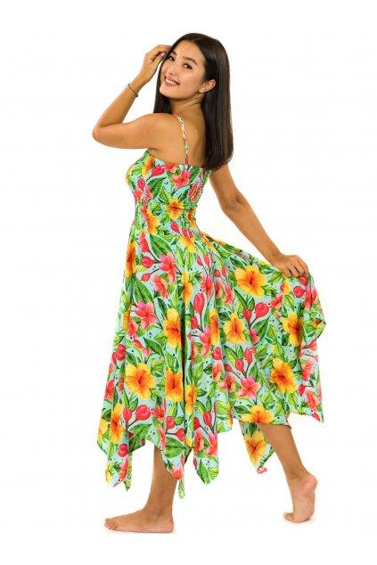 Šaty-sukně 2v1 Dawa Maui - tyrkysová s barvami