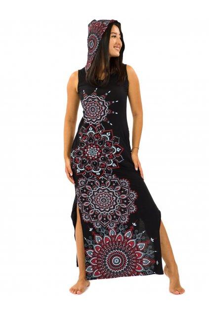 Dlouhé šaty s kapucí Hanalei - černá s červenou