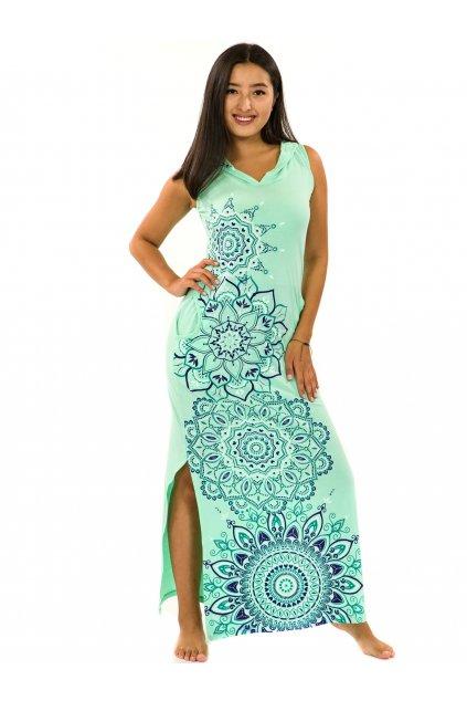 Dlouhé šaty s kapucí Hanalei - tyrkysová