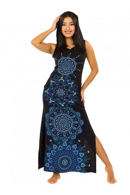 Dlouhé šaty s kapucí Hanalei - černá s modrou