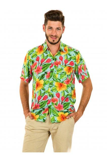 Pánská košile Maui - tyrkysová s barvami