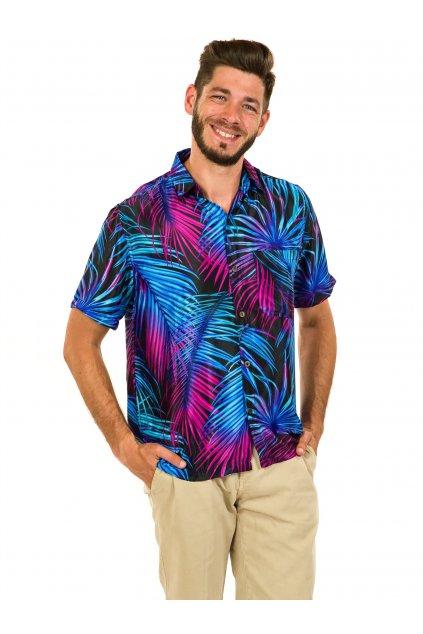 Pánská košile Listy - tyrkysová s fialovou