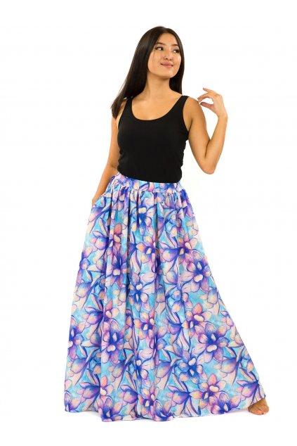Maxi sukně s kapsami Nala - tyrkysová s fialovou