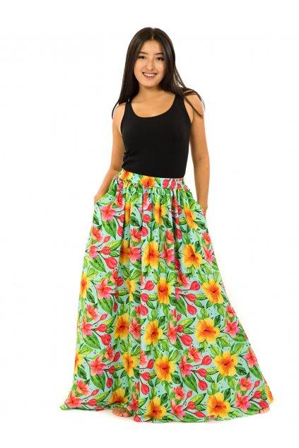 Maxi sukně s kapsami Maui - tyrkysová s barvami