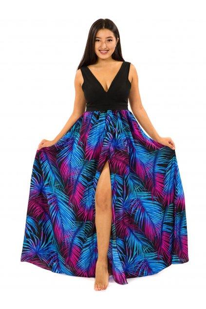 Dlouhé maxi šaty Listy - tyrkysová s fialovou