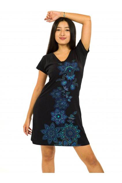 Šaty s krátkým rukávem Rori - černá s tyrkysovou