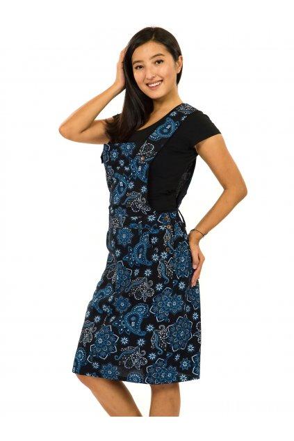 Laclové šaty Pemba - černá s modrou