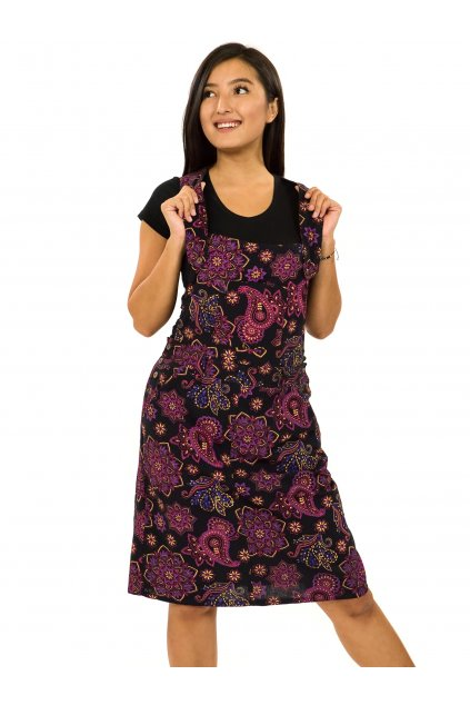 Laclové šaty Pemba - černá s růžovou