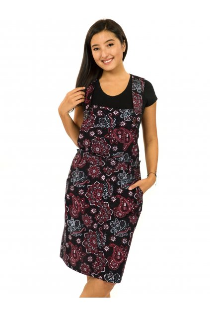 Laclové šaty Pemba - černá s červenou