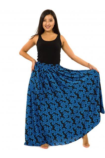Maxi sukně s kapsami Pomněnka - černá s modrou