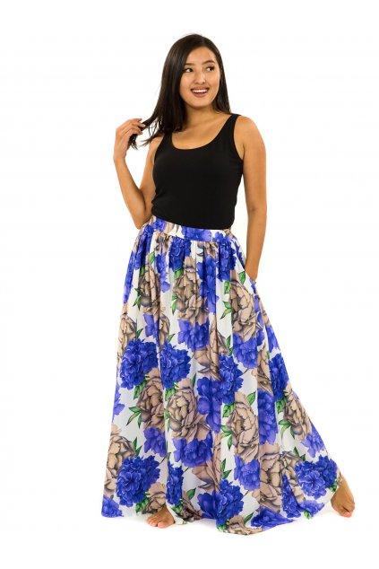 Maxi sukně s kapsami Pivoňka - bílá s fialovou