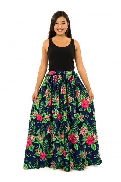 Maxi sukně s kapsami Tiana - tmavě modrá se zelenou