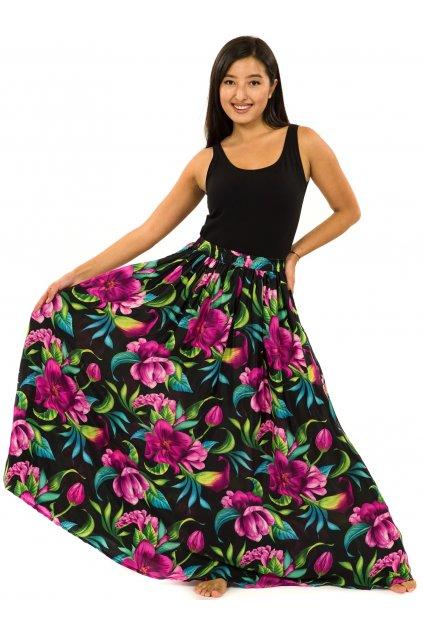 Maxi sukně s kapsami Nara - černá s fialovou
