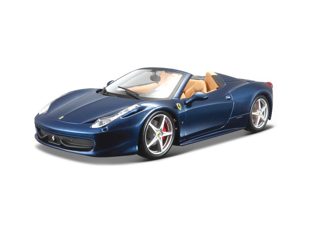 Bburago Ferrari 458 Spider 1:24 modrá metalíza
