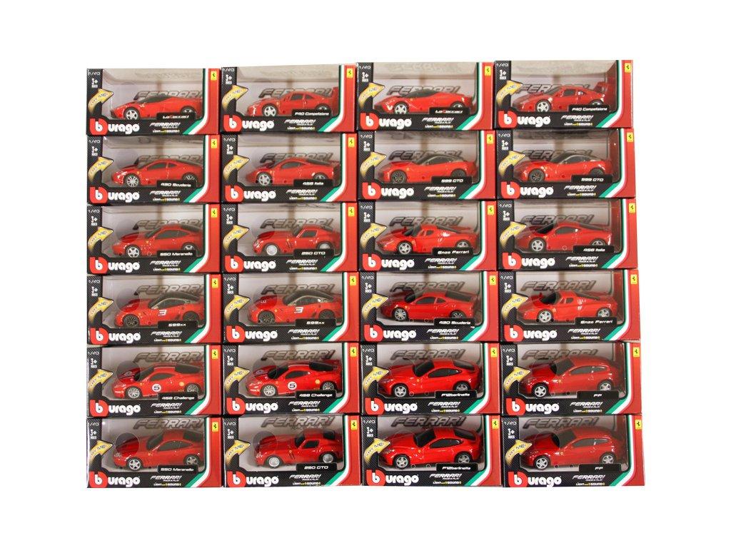 Bburago 1:43 Auta Ferrari Light & Sound sada 24ks