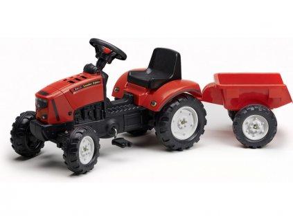 FALK - Šlapací traktor 2030 Lander Z160X s vlečkou červený