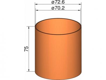 Klima Spojka 75mm trubek pr. 72.6mm x 75mm